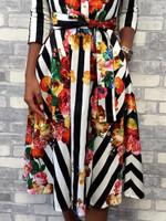 3/4 Sleeve Sashes Floral Striped Print Half Sleeve Shirt Dress