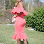 Backless Ruffle Sexy Slim Tunic Elegant Off Shoulder Dress
