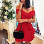 Slash neck retro ruffles off shoulder dress
