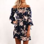 Floral Print Chiffon  Sexy Off Shoulder Dress