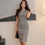 Sleeveless Mid-length Pack Hip Elegant  Slim Office Dress