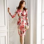 Pleated V-neck Floral Print Slim Bag Hip Pencil Office Dress