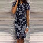 Striped  Slim High Waist Front Split Vintage Office Dress
