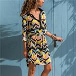 Casual Chiffon Print A-line Long Sleeve Office Dress