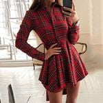 Plaid Turn Down Collar Long Sleeve Buttons Casual Office Dress
