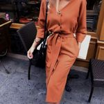 Sexy v Neck Long Sleeve Sashes Button Vintage Office Dress