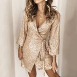 Bandage Deep V Sequins Ruched Long Sleeve Wrap Dress