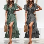 Casual V-Neck Split Fashion Floral Chiffon Ruffles Wrap Dress