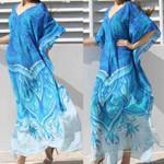 Loose Short Sleeve Printed Wrap  Dress