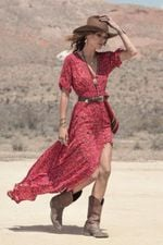Ruffles Casual V-Neck  Floral Print Long Chiffon Wrap Dress