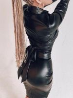 Fashion PU Leather Lady Long Sleeve V Neck Wrap Dress