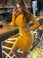 Fashion Hollow Out Knitted Casual Sweater Dress
