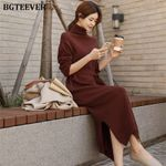 Lace Up Knitted Casual Pullover Turtleneck Side Split Sweater Dress