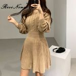 Elegant O Neck Hemp Knitted Vintage A Line Sweater Dress