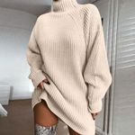Loose Tunic Knitted Casual Turtleneck Long Sleeve Sweater Dress