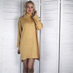 Long Sleeve Turtleneck Loose Causal  Sweater Dress
