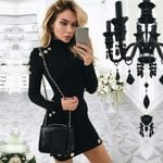 Fashion Sexy High-Necked Long Sleeve Hip Slim Sweater Dress