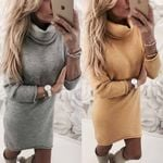 Fleece Long Sleeve Turtleneck Sweater Dress