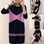 Long Sleeve Patchwork Round Neck Loose Sweater Dress