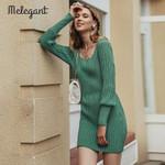 Vintage Short Knitted Elegant Sweater Dress