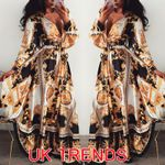 Long Sexy V-neck Long Retro Vintage Floral Print Dress