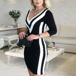 Fashion Elegant Causal V-Neck Sexy Striped Printed Dress