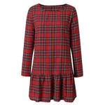 Long Sleeve Plaid A-Line Casual Printed Dress