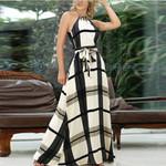 Sleeveless Long Bandage Off Shoulder Plaid Printed Dress