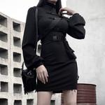 Short Bandage Gothic Belt Long Sleeve Casual Black Dresses