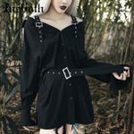 Off Shoulder Button Casual Gothic Punk Black Dress