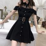 Turn-down Collar  Single Breasted Black Dress