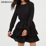 Backless A-Line High Waist Round Neck Ruffle Black Dress