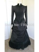 Long Sleeves Gothic Victorian Gown Black Dress