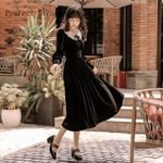 Retro Fashion Collar Long Sleeve Long Black Dress