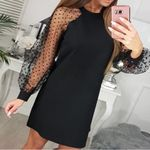 Long Sleeve Elastic Waist Lace Up Hollow Out Black Dress