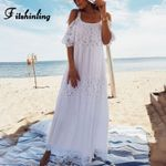 lace patchwork tunic open shoulder sexy white dress
