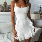 Elegant Sleeveless Backless Strap A Line Mesh White Dress