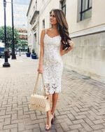 Lace Hollow Out Elegant Sleeveless V-Neck Slim White Dress