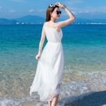 Sleeveless Sexy Casual Long Silk White Dress