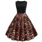Vintage Fashion Vintage Sleeveless Casual Leopard Dress