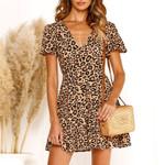 Print Sexy Wrap Leopard Dress
