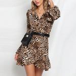 Sexy V-Neck Ruffled Hem Flare Sleeve Wrap Leopard Dresses