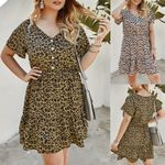 Fashion Short Sleeve V-Neck Casual Button Leopard Dress