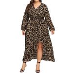 V-Neck Long Sleeve Ruffles Bandage Long Leopard Dress
