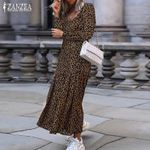 Fashion V Neck Casual Ruffle Sexy Leopard Dress