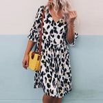 V-Neck Print Middle Sleeve Leopard Dress