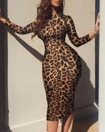 Slim Fit Sexy Robe Long Sleeve Leopard Dress