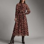 basic chiffon long turn down collar button Vintage leopard dress
