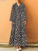 Casual Lapel Loose Ruffles Sexy Long Leopard Dress