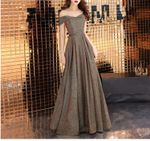Glitter Slash Neck Sexy Off Shoulder Long Vintage Dress